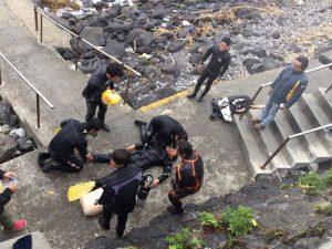 伊東市川奈で事故発生時の対処訓練を実施