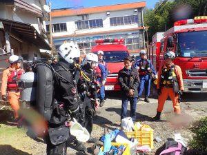 一碧湖における水難救助合同訓練に参加しました